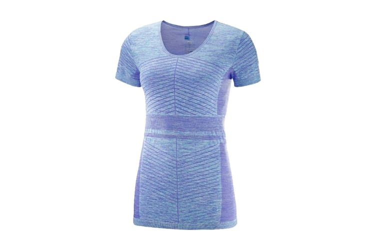 Salomon Elevate Move'On Short Sleeve Tee Women's (Purple Opu/Blue, Size Small)
