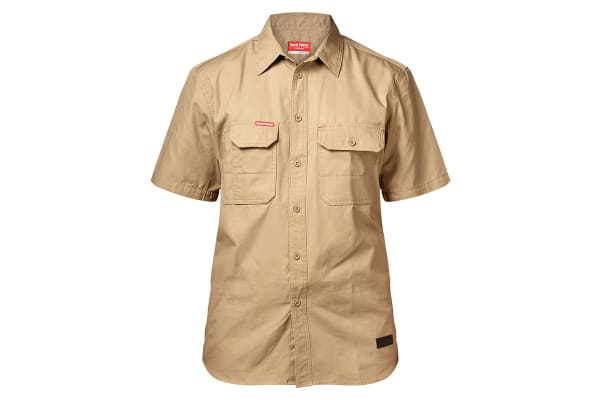 Hard Yakka Men's Legends Short Sleeve Shirt (Khaki, Size XL)