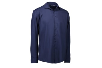 ID Mens Long Sleeve Modern Fit Easy Iron Shirt (Navy) (41-42 inches)