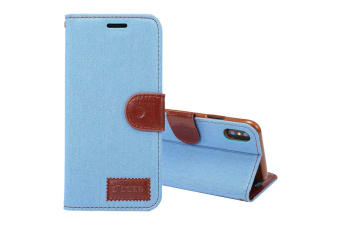For iPhone XS X Wallet Case  Denim Texture Protective Leather Cover Baby Blue