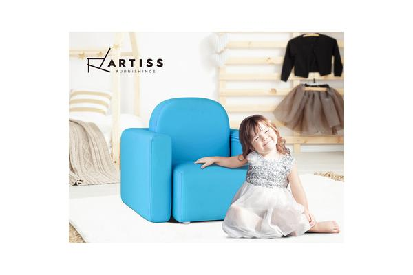 Artiss Kids Chair Sofa Recliner Children Table Desk Armchair Leather Couch BLUE