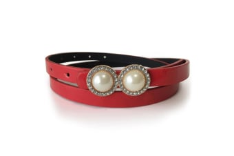 Leather Belt With Pearls & Crystals White-Leather/Red