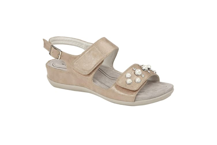 Boulevard Womens/Ladies Twin Touch Fastening Sandals (Stone Shimmer) (7 UK)