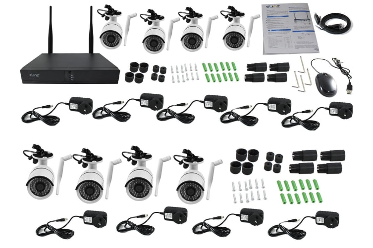 Elinz 8CH CCTV Wireless Security System 2MP IP WiFi 8x Camera 1080P NVR Outdoor No hard Drive Included