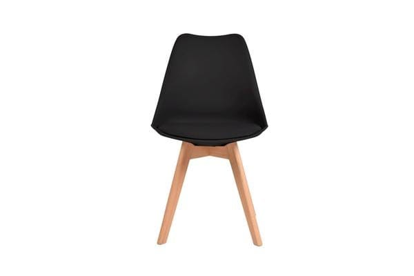 4 x Retro Replica Eames PU Leather Padded Seat Chair BLACK