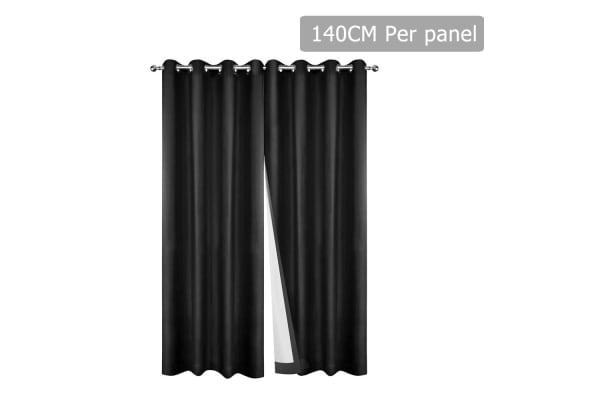 Set of 2 140CM Blockout Eyelet Curtain (Black)