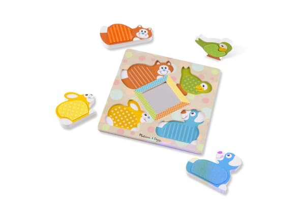 Melissa and Doug First Play Wooden Touch and Feel Puzzle Peek-a-Boo Pets