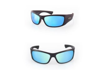Tonic Shimmer Blue Mirror Glass Lense Fishing Sunglasses with Black Frame
