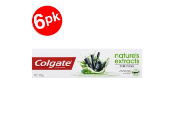 6x Colgate 100g Nature Extracts Pure Clean Charcoal + Mint Fluoride Toothpaste