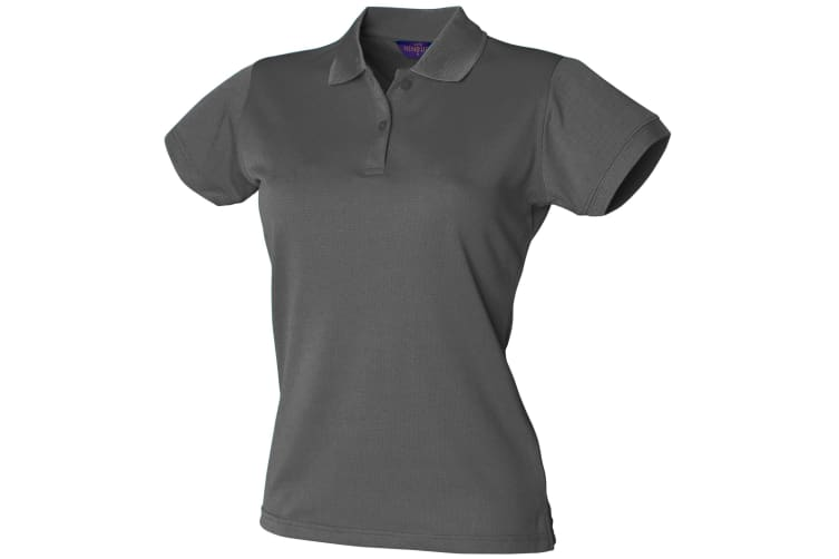 Henbury Womens/Ladies Coolplus® Fitted Polo Shirt (Charcoal Grey) (XS)