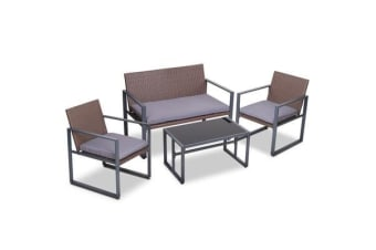 Gardeon 4pc Patio Furniture Set Outdoor Furniture Wicker Garden Lawn Sofa Seat Brown