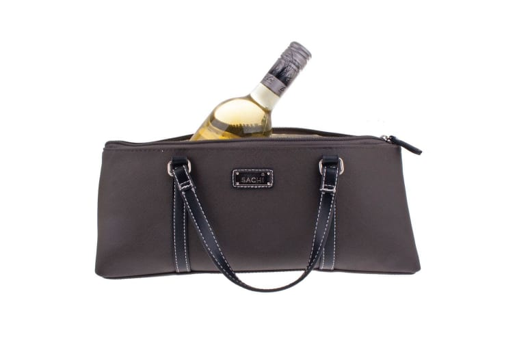 Sachi Wine Bottle Insulated Cooler Handbag Carrier Purse Bag w  Handle Charcoal