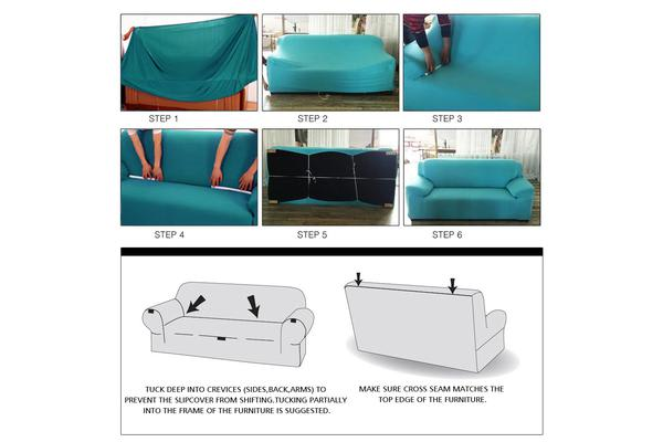 Easy Fit Stretch 2 Seater Couch Sofa Slipcover Protector Cover GREY