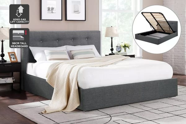Shangri-La Bed Frame - Portofino Gas Lift Collection (Dark Grey, Queen)