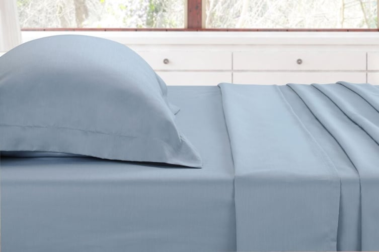 Ovela 1000TC Cotton Rich Luxury Sheet Set (Double, Slate Blue)