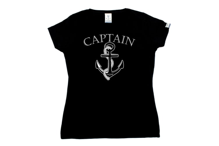 Ocean Bound Sailing Tee - Captain - (Large Black Womens T Shirt)