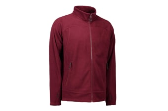 ID Mens Zip N Mix Active Fleece Jacket (Bordeaux) (4XL)