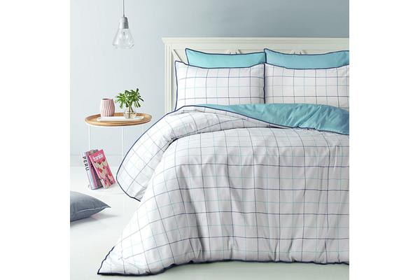 Style & Co 100 % Cotton Reversible Quilt Cover Set Super King Water Check