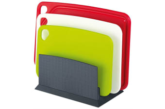 Scanpan Spectrum 4pc Chopping Board Set w  Stand Kitchen Cutting Colour Coded