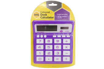Marbig 8 Digit Home/Office Calculator Large Display/Solar/Battery Powered Purple