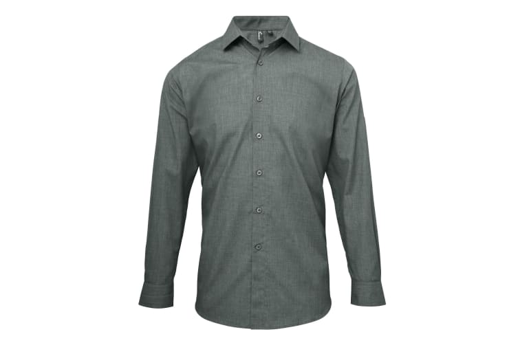Premier Mens Poplin Cross-Dye Roll Sleeve Shirt (Grey Denim) (S)