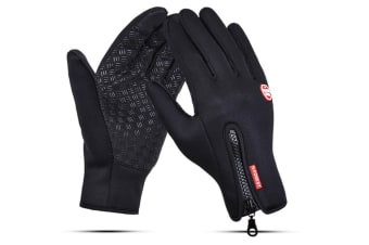 Outdoor Sport Gloves For Men And Women Skiing With Cold-Proof Touch Screen - 2 Black Xl