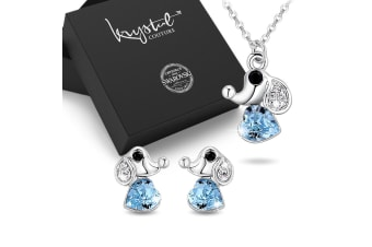 Boxed Cute Elephant Necklace and Earrings Set Embellished with Swarovski Crystals