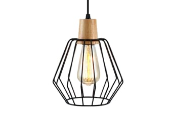 Artiss Wood Pendant Light Modern Ceiling Lighting Industrial Wire Lamp Bar Black