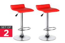 Ovela Set of 2 Flat Top Bar Stools (Red)