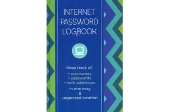 Internet Password Logbook - Pattern Edition - Keep track of: usernames, passwords, web addresses in one easy & organized location