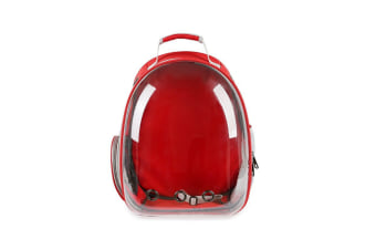 Transparent Pet Carrier Backpack For Cat Kitten Doggie Puppy Red