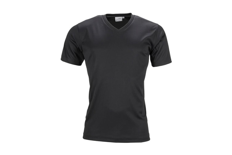 James and Nicholson Mens Active V Neck T-Shirt (Black) (XXL)
