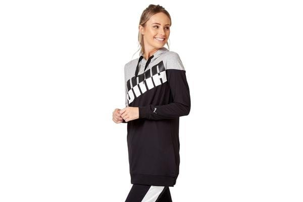 Puma Women's A.C.E. Blocked Hoodie (Light Grey Heather/Black, Size XS)