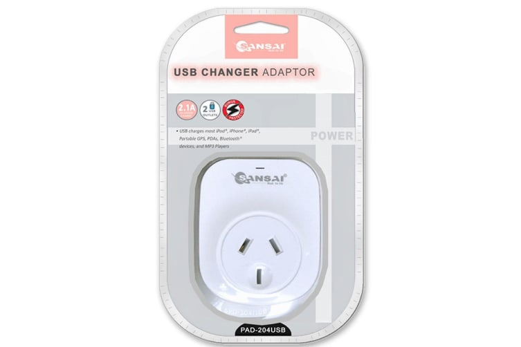 Sansai 2.1A 2xUSB Outlets Surge Protection Charger Adapter f/ iPhone/iPad/iPod