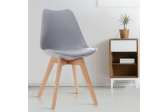 Artiss Retro Replica Eames Dining Chairs PU Leather Chair Padded Seat Grey x4