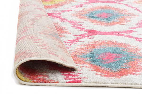 Gypsy Heirloom Rug Pink Yellow Grey 290x200cm