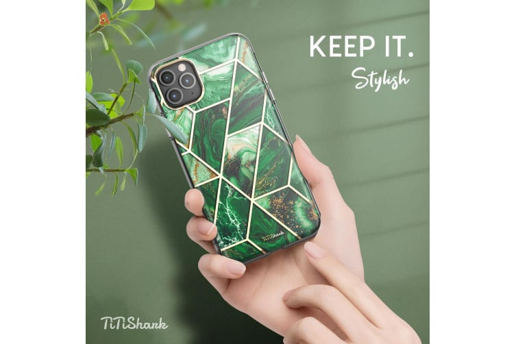 TITSHARK Marble Pattern Shockproof Tough High-quality stylish Case Cover For iPhone 11 Pro-Green