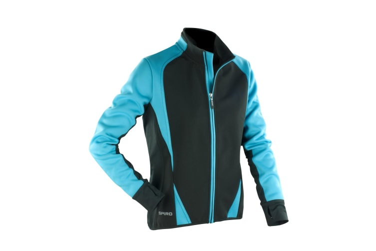 Spiro Womens/Ladies Freedom Softshell Sports/Training Jacket (Aqua/ Black) (L)
