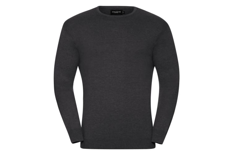 Russell Mens Cotton Acrylic Crew Neck Sweater (Charcoal Marl) (XS)