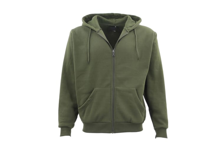Adult Unisex Plain Fleece Hoodie Hooded Jacket Men's Zip Up Sweatshirt Jumper - Olive