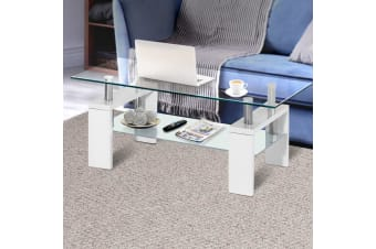 Artiss Coffee Table 2 Tier Tempered Glass Stainless Steel Storage Shelf White