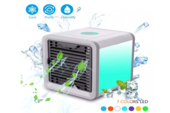 USB Portable Air Conditioner Air Cooler Desktop Fan Mini Air Circulator Purifier Colorful Atmosphere Lamp