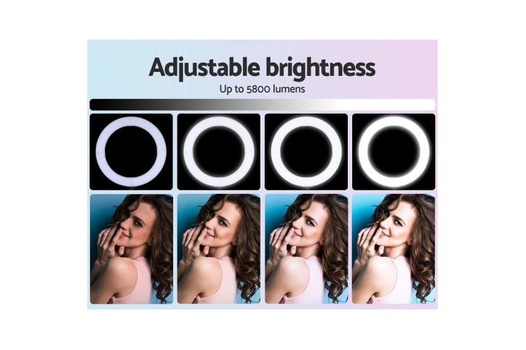 "19"" LED Ring Light 6500K 5800LM Dimmable Stand MakeUp Studio Video"
