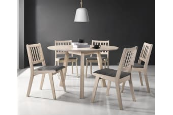 7 Pieces Round Dining Set Table Chairs Solid Rubberwood in White Washed