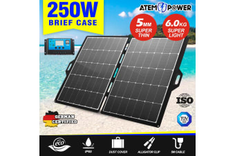 ATEM POWER 12V 250W Folding Solar Panel Blanket Kit Mono Camping Charging Battery