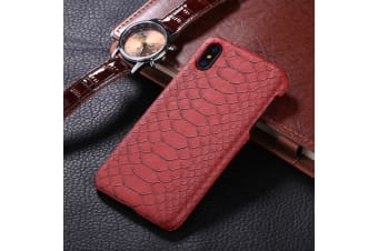For iPhone XS X Back Case Elegant Snakeskin Texture Durable Protective Cover Red