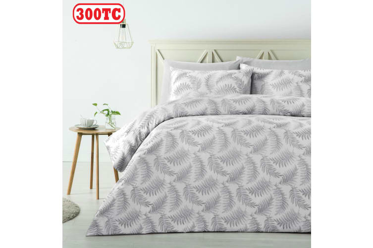 300TC Fern Silver Jacquard Quilt Cover Set KING by Accessorize