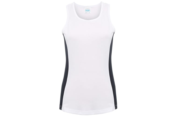 AWDis Just Cool Womens/Ladies Girlie Contrast Panel Sports Vest Top (Arctic White/French Navy) (M)