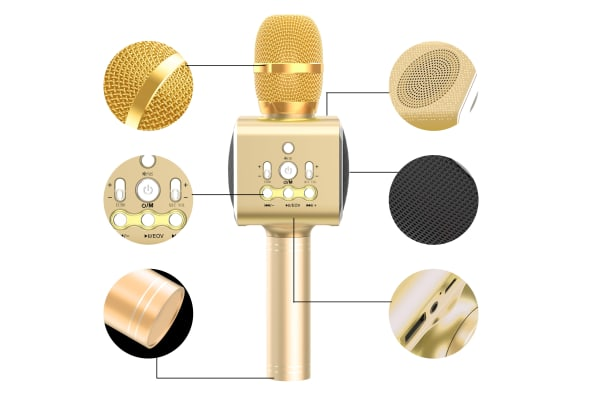 Kogan Bluetooth Karaoke Microphone with Built-in Speaker and LED (Gold)
