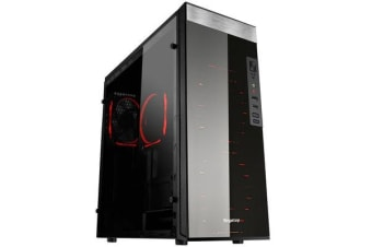 Segotep SG-K6 ATX Mid-Tower Case with 2 x Front 12CM Red Ring LED Fan (No PSU) - Black -